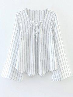 Striped Lace Up Flare Manches Blouse - Blanc M