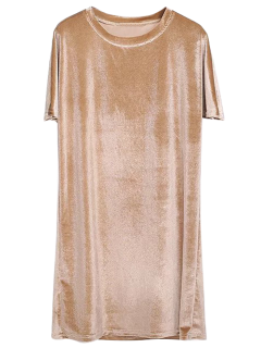 Velvet Mini Shift Layering Dress - Golden