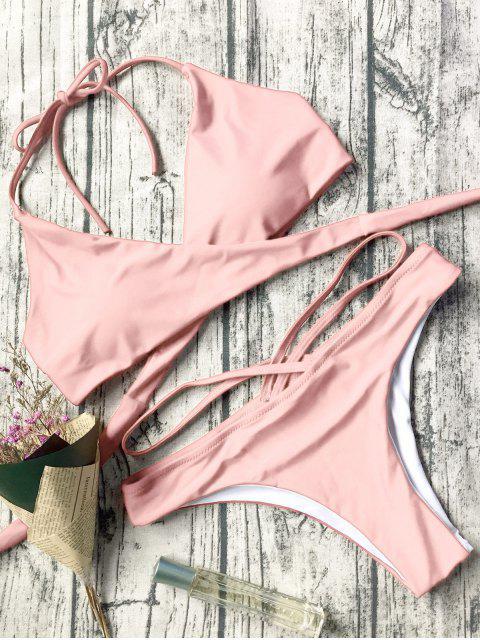 shop Double Side Crossover Bikini Swimwear - PINK L Mobile