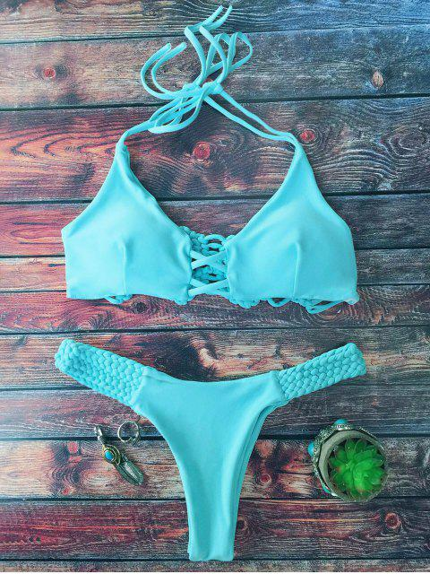 unique Cami Braided High Leg Bikini Set - LAKE GREEN L Mobile