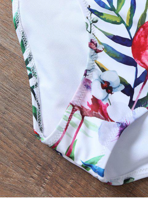 ladies Padded Push Up Printed High Waisted Bikini Set - WHITE M Mobile