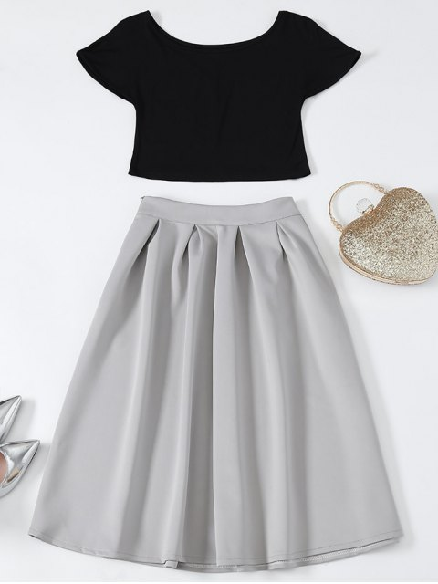 lady Cropped Tee and Midi Flare Skirt - BLACK AND GREY S Mobile