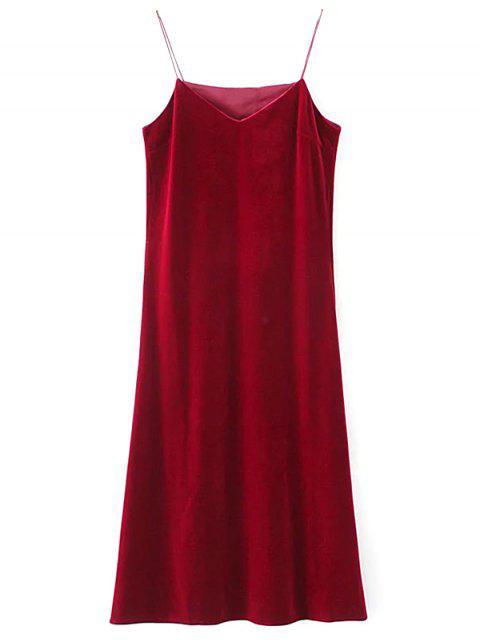 hot Side Slit Velvet Cami Dress - BURGUNDY L Mobile