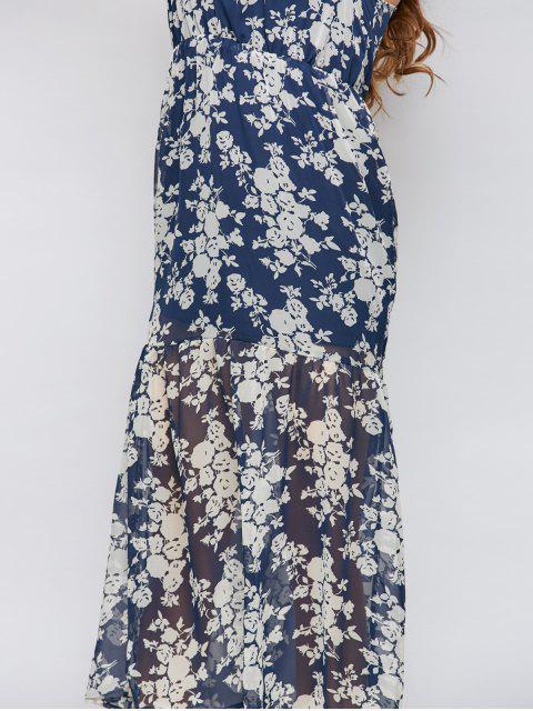 trendy Floral Beach Maxi Dress - BLUE 2XL Mobile