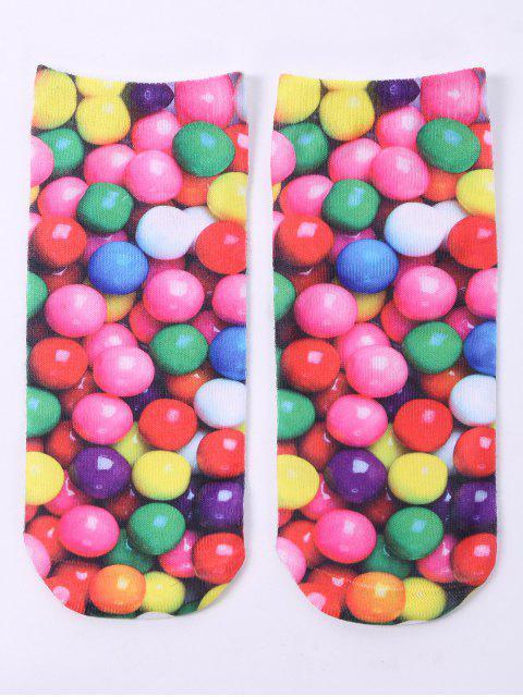 Verrückte Knöchelsocken mit 3D Runde Süßigkeiten Druck - Farbig  Mobile