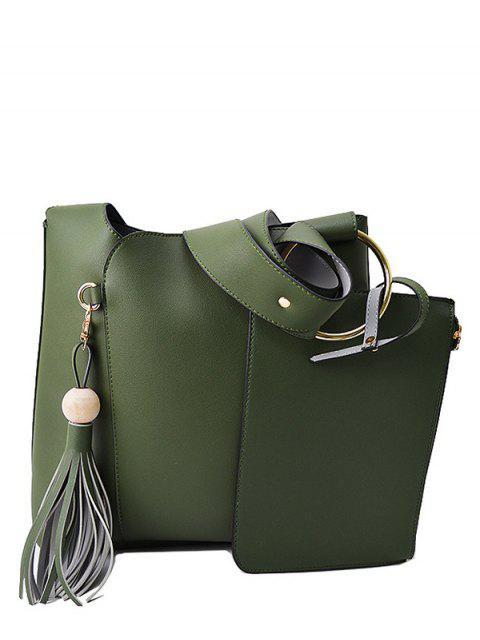 latest Wood Ball Tassel Shoulder Bag With Wristlet - GREEN  Mobile