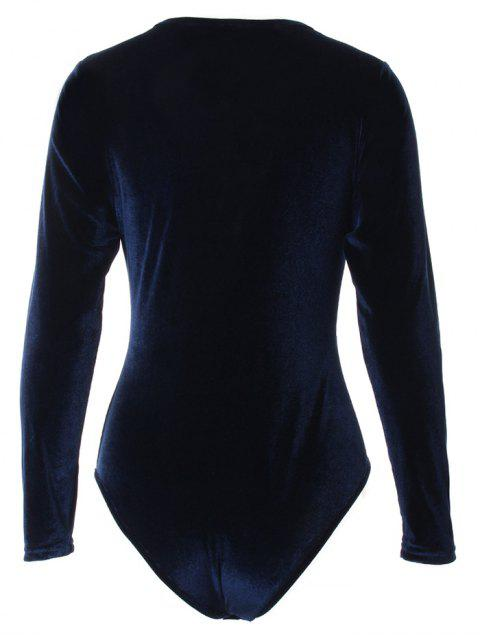 women's Long Sleeve Velvet Bodysuit - CADETBLUE M Mobile