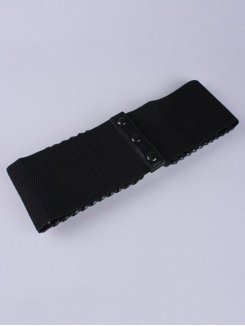 women Double Pin Buckles Wide Waist Belt - BLACK  Mobile