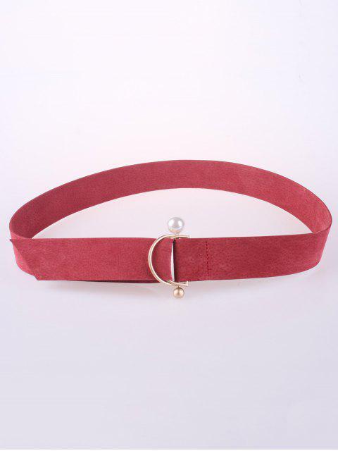 best D Buckle Faux Suede Waist Belt - WATERMELON RED  Mobile