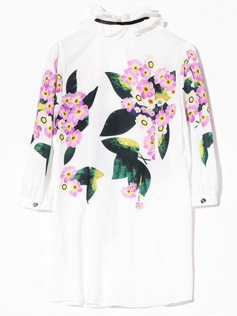trendy Long Flounced Floral Shirt - WHITE S Mobile