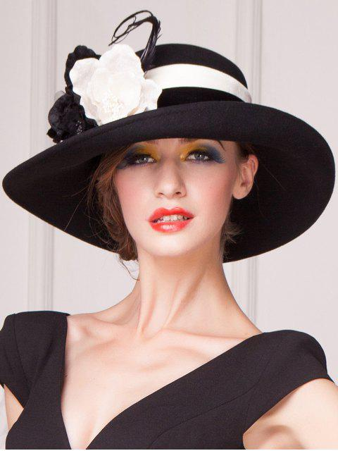 unique Feather Flower Strappy Church Hat - BLACK  Mobile