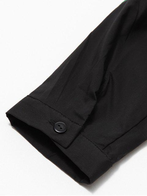 affordable Long Sleeve Embroidered Shirt - BLACK L Mobile