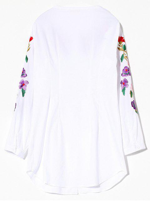 lady Long Sleeve Embroidered Shirt - WHITE S Mobile