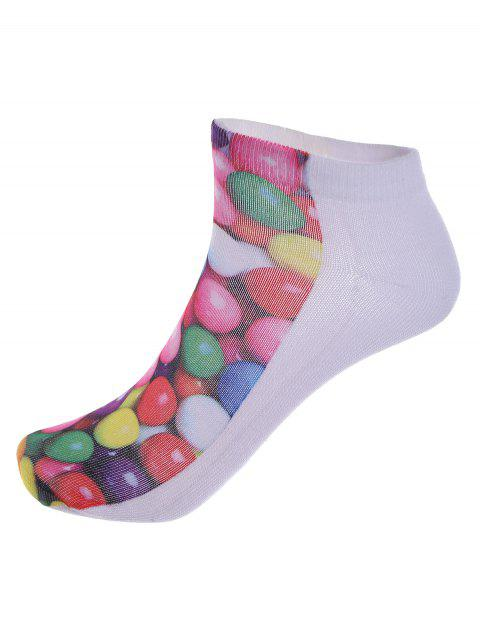 women One Side 3D Round Sweets Printed Crazy Ankle Socks - COLORFUL  Mobile