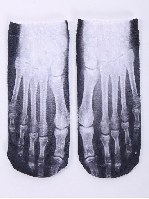 socquettes a motif one side squelette en 3D - Blanc  Mobile