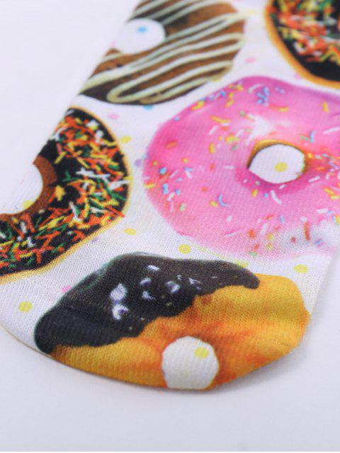 online One Side 3D Donuts Printed Crazy Ankle Socks - WHITE  Mobile