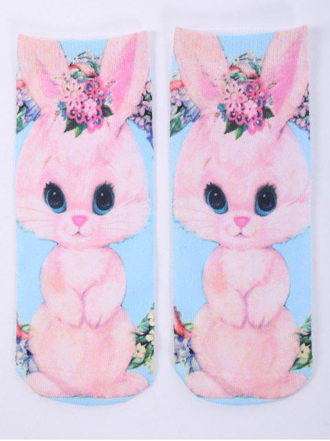 outfits One Side 3D Cartoon Rabbit Printed Crazy Ankle Socks - PINK  Mobile