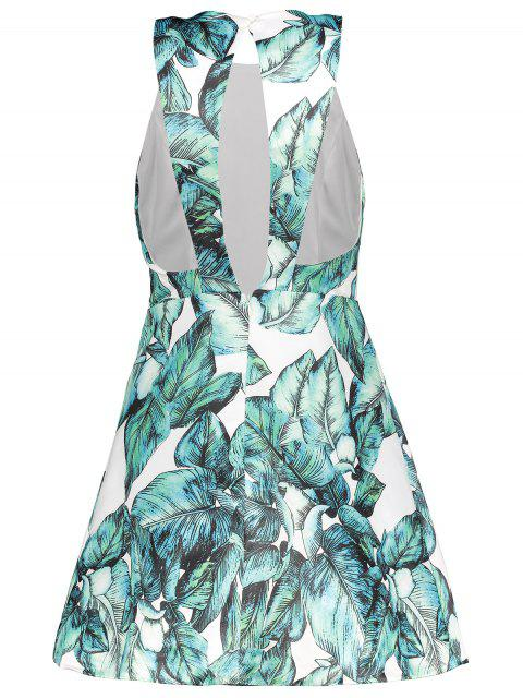 best Back Stitch Printed A-Line Dress - GREEN L Mobile