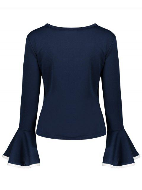 latest Flare Sleeve Blouse - CADETBLUE 2XL Mobile