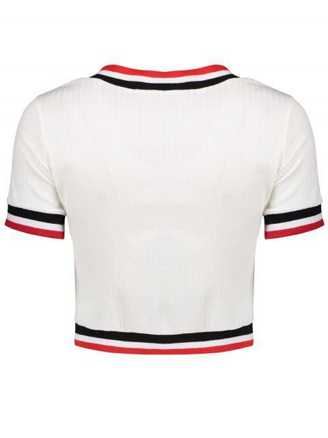 online Knitting Cropped Stripe Panel T-Shirt - WHITE XL Mobile