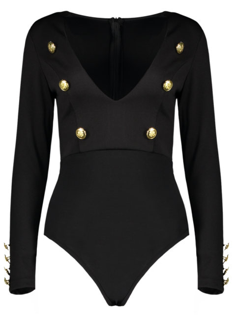 best Long Sleeve Plunging Neck Bodysuit With Buttons - BLACK S Mobile