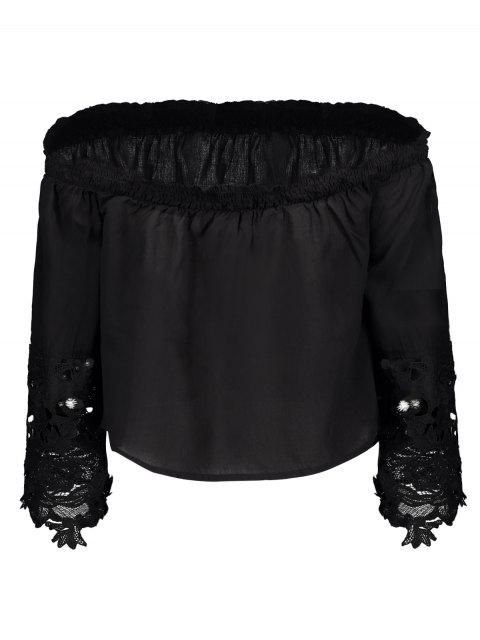 women's Off The Shoulder Lace Bell Sleeve Blouse - BLACK M Mobile