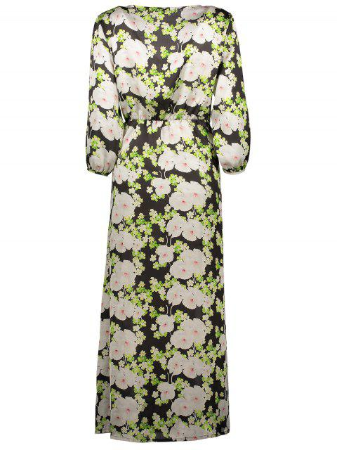 buy Floral Button Up Printed Maxi Dress - BLACK 2XL Mobile