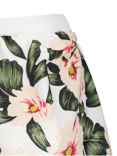 unique Floral A-Line Mini Skirt - GREEN S Mobile
