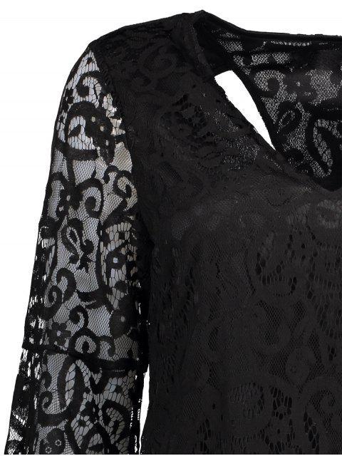 fashion Bell Sleeve Plunge Neck Lace Dress - BLACK M Mobile