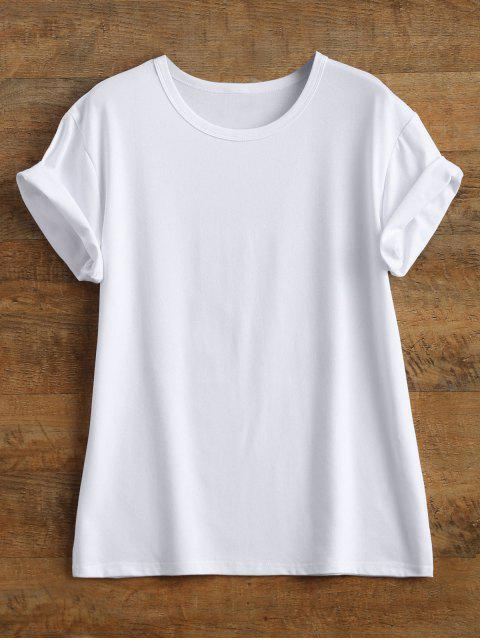 women's Streetwear Curled Sleeve Printed T-Shirt - WHITE 3XL Mobile