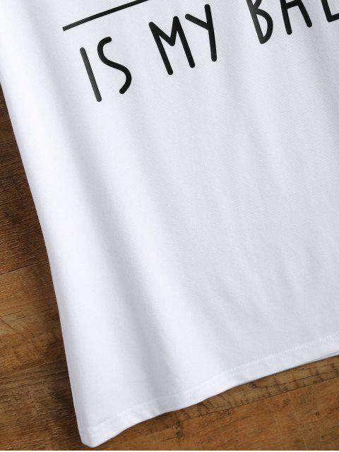 hot Cotton Curled Sleeve Letter T-Shirt - WHITE 3XL Mobile