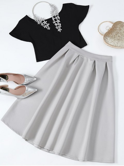 women's Cropped Tee and Midi Flare Skirt - BLACK AND GREY L Mobile