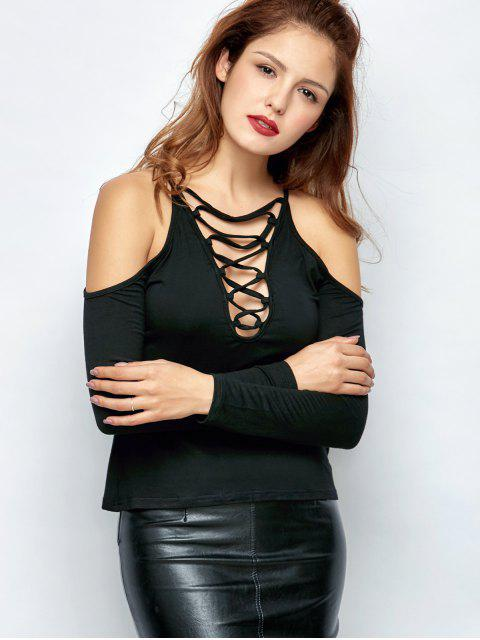 outfit Lace-Up Cold Shoulder T-Shirt - BLACK 2XL Mobile