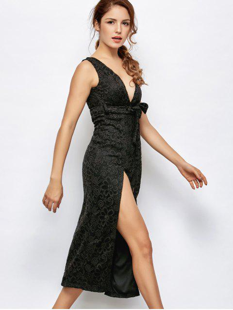 outfit Low Cut Lace Plunge Empire Waist Prom Dress - BLACK XL Mobile