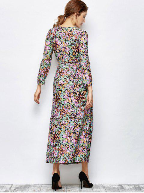 trendy Maxi Print Wrap Dress - MULTICOLOR XL Mobile
