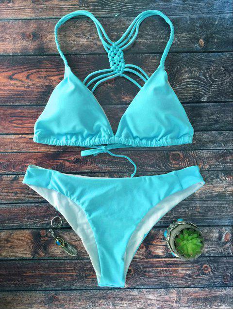 fancy Crosscriss Strappy Bikini Set - BLUE S Mobile