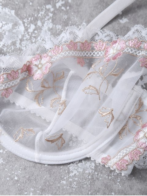 shop Cami See-Through Floral Embroidered Bra Set - WHITE 70B Mobile