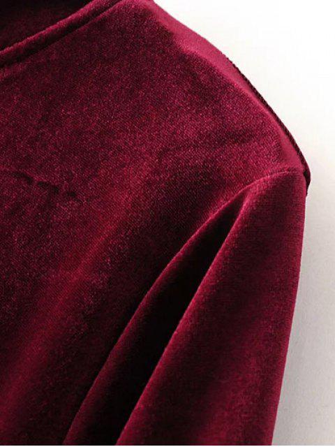 shop Cut Out Bell Sleeve Velvet Dress - BLACKISH GREEN S Mobile