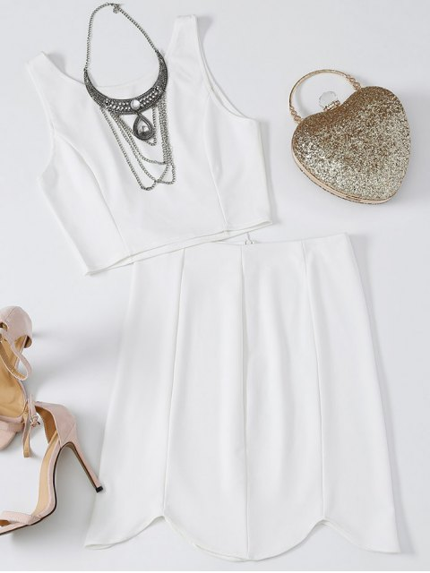 online Fitted Crop Top and Scalloped Skirt - WHITE M Mobile