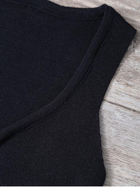 ladies V Neck Sweater Tank Top - BLACK ONE SIZE Mobile
