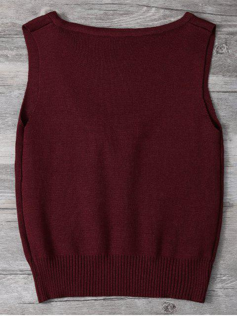 lady V Neck Sweater Tank Top - BURGUNDY ONE SIZE Mobile