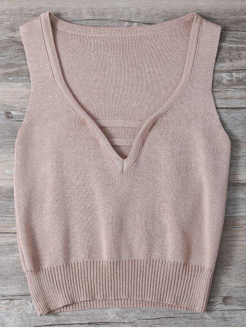 best V Neck Sweater Tank Top - SHALLOW PINK ONE SIZE Mobile