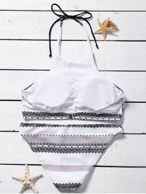 sale Striped Halter Rope Bikini Set - WHITE S Mobile