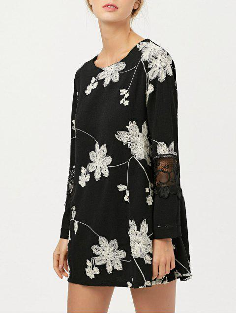 outfits Lace Panel Floral Embroidered Dress - BLACK XL Mobile