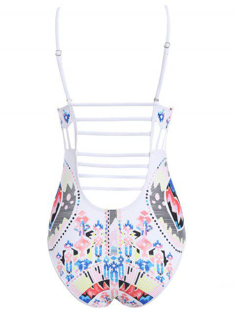 affordable Cut Out Printed Cami Swimwear - WHITE M Mobile