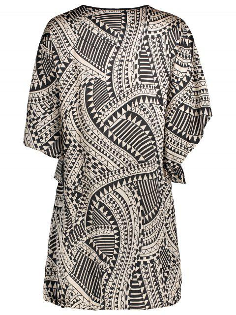 ladies Flare Sleeve Geo Print Buttoned Chiffon Dress - COLORMIX M Mobile