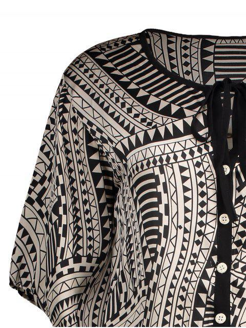 Robe Boutonné Impriméé Géo en Mousseline à Manches Évasées - Multicolore S Mobile