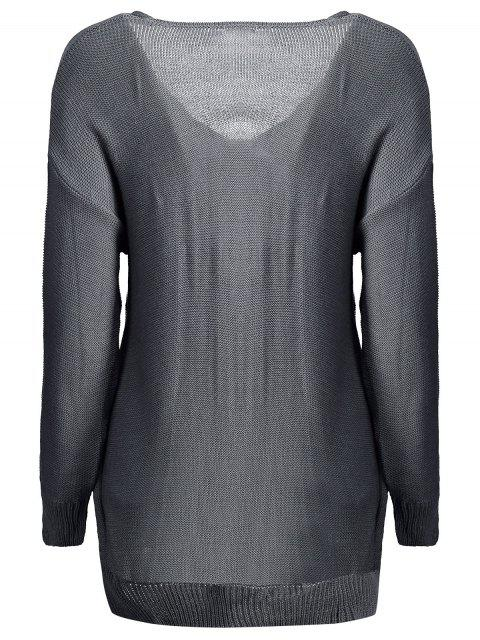 affordable Crossover Pullover Sweater - DEEP GRAY XL Mobile