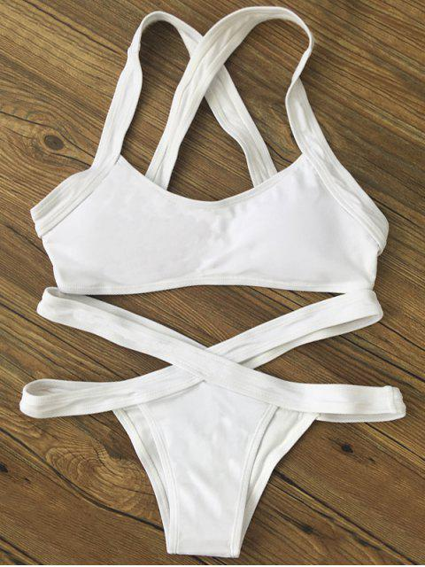 latest Color Block Banded Swimsuit - WHITE M Mobile