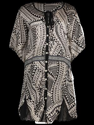 Flare Sleeve Geo Print Buttoned Chiffon Dress - M